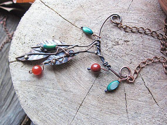 Branch Necklace Boho Necklace Leaf Necklace by MaryBulanova