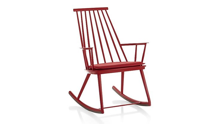 $218 Crate and Barrell Union Red Rocking Chair with Sunbrella ® Cushion