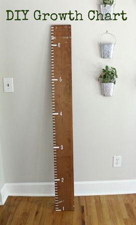 Such a cute idea for a growth chart instead of the tacky paper ones! This one will last forever, and will look super cute in the kids room!    http://blogs.babycenter.com/life_and_home/diy-growth-chart-tutorial/