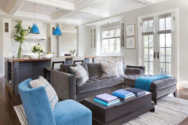 Salon gris y azul