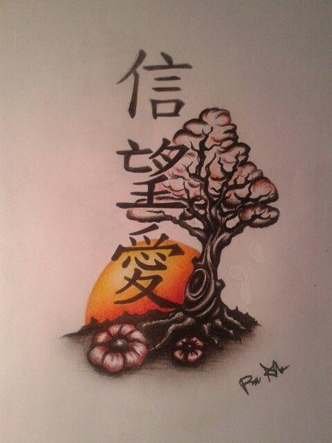 Chinese rising sun tattoo desing