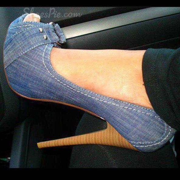 Chic Denim Platform Stiletto Heels with Buckle www.shoespie.com