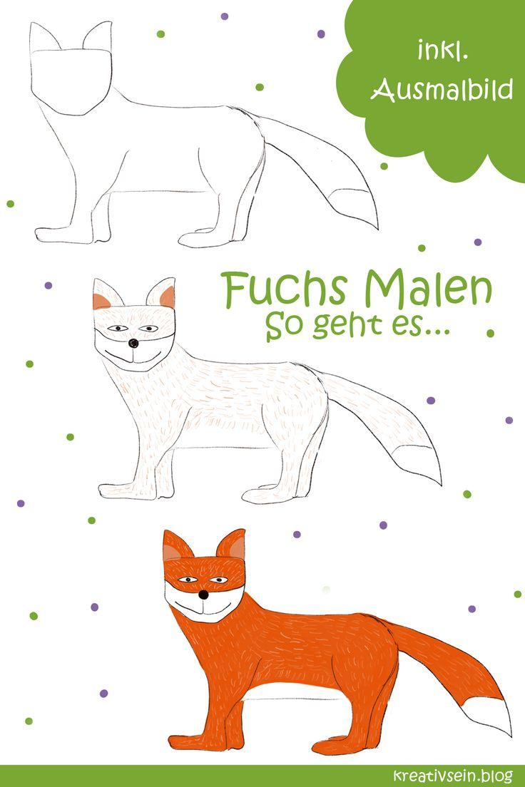 Fuchs Malen: Mit Vorlage geht es ganz einfach! - kreativsein.blog