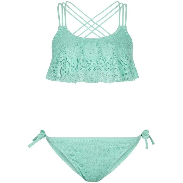 New Look Teens Blue Crochet Flounce Bikini Set (£13) ❤ liked on Polyvore featuring swimwear, bikinis, pale blue, blue ruffle bikini, flutter bikini top, crochet swim top, crochet bikini and flounce bikini top