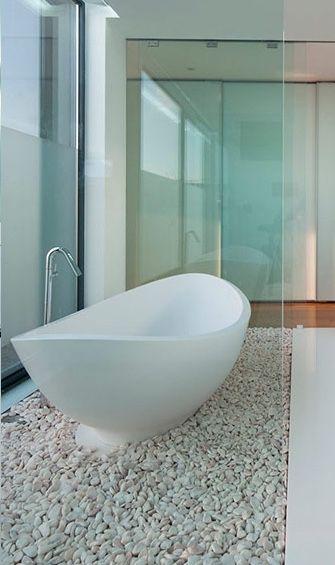 Галечный пол ванной   Elements of Design & Decor