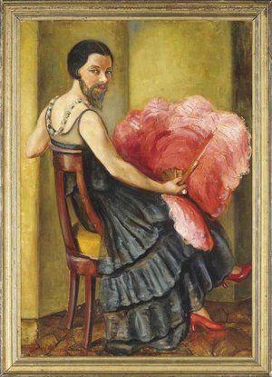 A Bearded Lady holding an Ostrich Feather Fan (1939), Hélène Detroyat