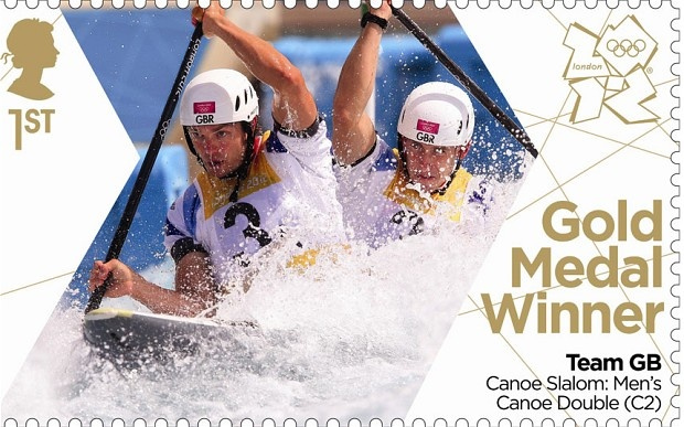 London 2012 Olympic: Royal Mail stamps of the gold medalists -   Tim Baillie and Etienne Stott claimed Britains first ever canoe slalom gold