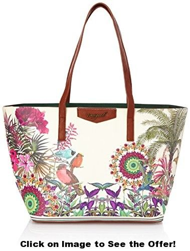 Desigual San Francisco Tropic Woman Woven Handbag, Cream, One Size