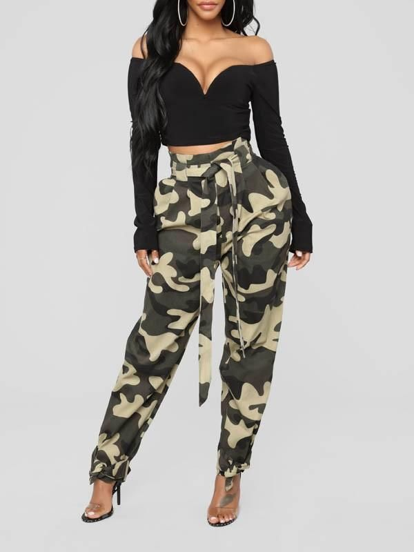 f362695c473ce2 New Dark Green Camouflage Belt Pockets High Waisted Overalls Casual Long  Pant