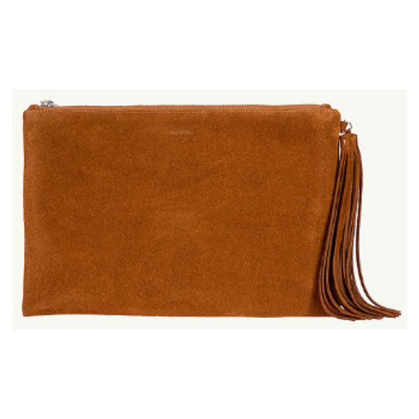 Camel Ane Suede Clutch Bag (1.165 BRL) ❤ liked on Polyvore featuring bags, handbags, clutches, camel handbags, brown handbags, camel purse, brown suede purse and suede leather handbags