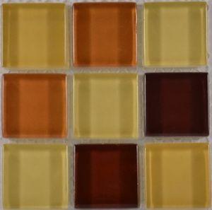 Product ID:OPUS3 Miki 1X1 Glass Blend Honey Mix Mosaic #Profiletile
