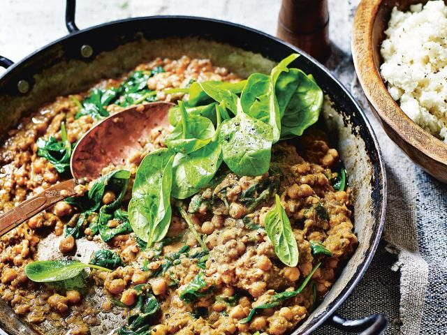 Madeleine shaw - chickpea lentil dhal coconut cauliflower rice recipe