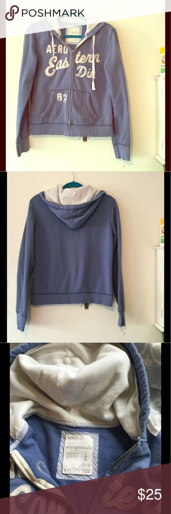 Aéropostale Light Blue Zip Up Hoodie Size Large with a thermal lining inside the hoodie.  To me it looks more like a Medium Aeropostale Tops Sweatshirts & Hoodies