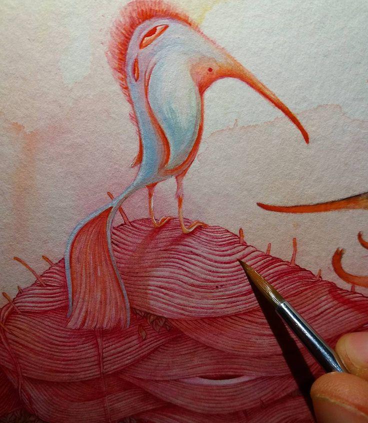Night painting. Detail /// Turno de noche. Detalle #vorjasánchez - - - - - -  #wip #doodle #painting #monster #bird #acrylicpainting #watercolor #ink #fullcolor #artwork #barcelonaart #bcn #contemporaryart #artstudio #characterdesign #art #closeup