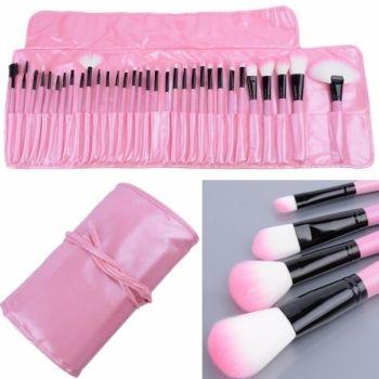 32 PCS Makeup Brush Set Cosmetic Pencil Lip Liner Make Up Kit Holder Bag Pink