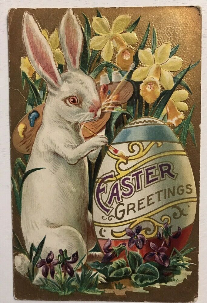Vintage Easter Fabric Block Easter Greeting Bonnet