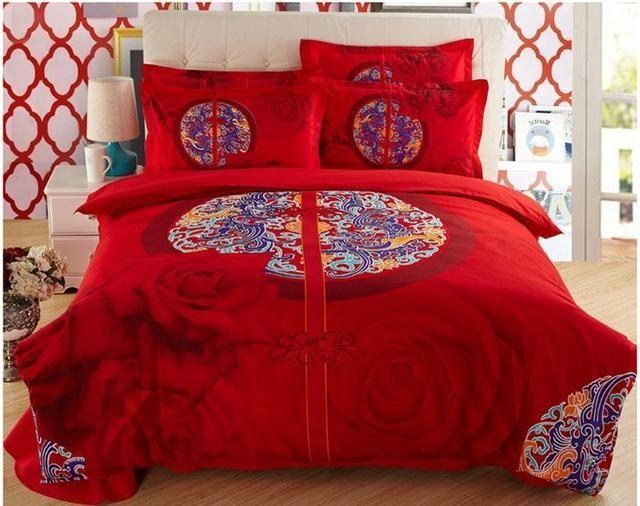 Baroque Hot 3D Bedding Set Duvets Cover Printed bedsheet Pillowcase 4pcs bedspread queen size cotton double bed linen Best Gift