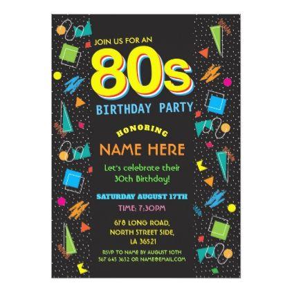 1980's Birthday Party Eighties 80's Invitations - invitations custom unique diy personalize occasions