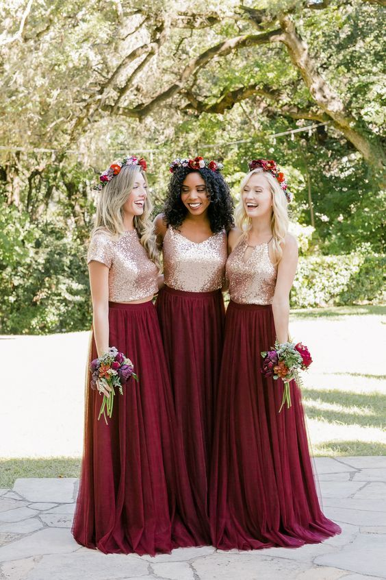Elegant Sequins Burgundy Bridesmaid Dress Two Pieces Chiffon Customize High Quality Gown Prom In 2018 Special