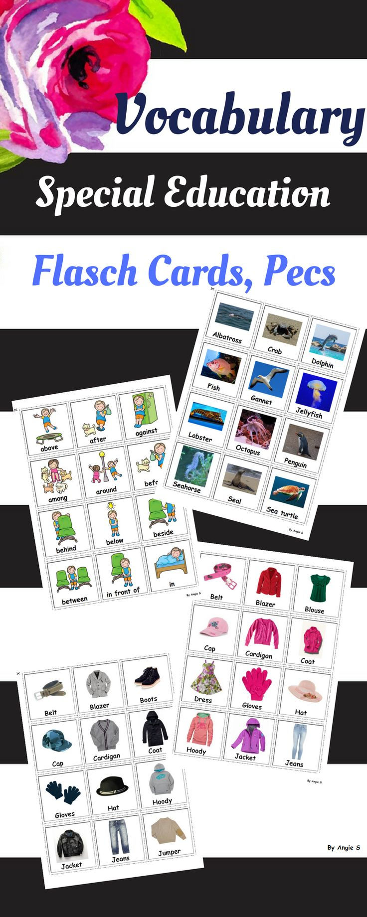 Vocabulary Bundle - Printable Communication Cards, Pecs with real life pictures for different activities and games. #pecs #autism #esl For more resources follow https://www.pinterest.com/angelajuvic/autism-and-special-education-resources-angie-s-tpt/