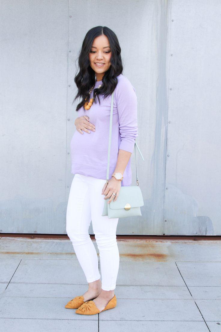 Lavender Sweater + White Jeans + Mustard Flats + Mint Purse + Statement Necklace