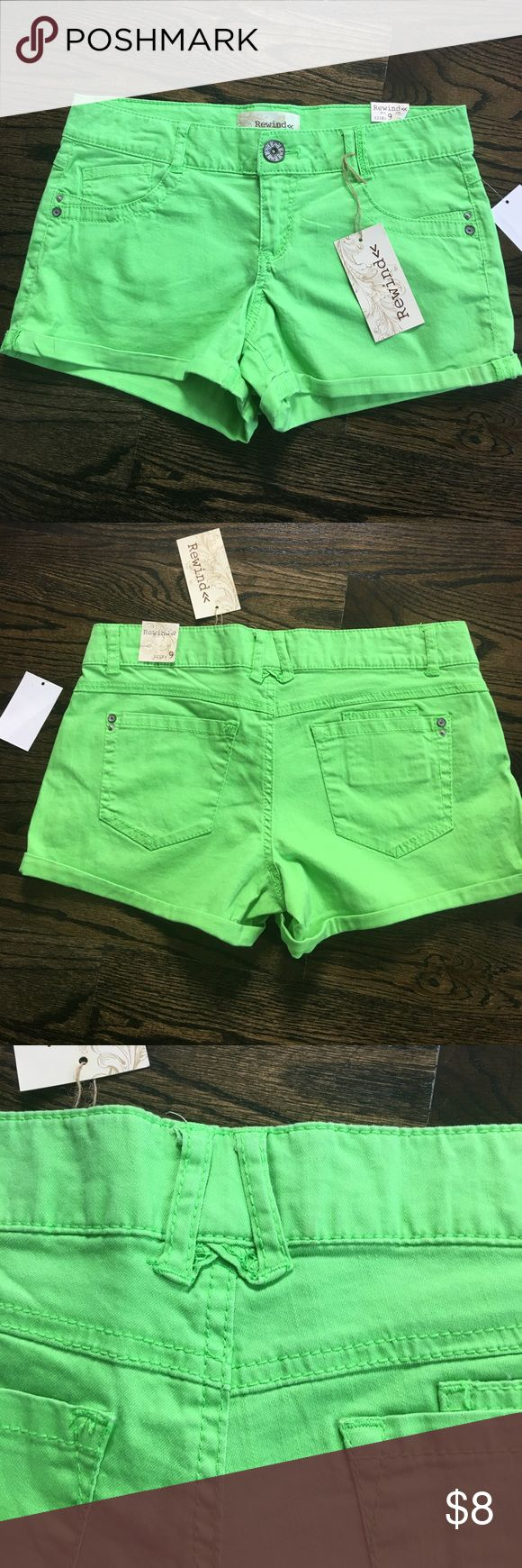 """REWIND Neon Green Shorts Size 9 REWIND Neon Green SHORTS NWT Super Cute!  RN# 39831 Style# R700WRGD  Made in China 98% Cotton 2% Spandex SIZE 9 WAIST 32""""  RISE 8"""" INSEAM 14.5"""" CONDITION: New Condition Great Buy for Summer!  Will Ship Immediately. Rewind Shorts Jean Shorts"""