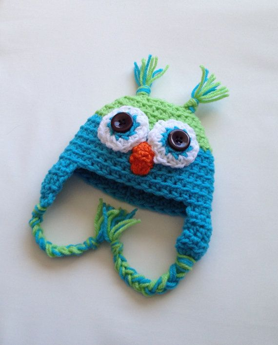 $15.00 - Baby boy or girl lime green and sky blue crochet owl beanie hat, size Newborn 0-3 Months or 3-6 Months. This is my most popular style of hat. Owl hats are so trendy, with their big eyes and cute beak! It's getting cold, so why not keep your baby warm in style?
