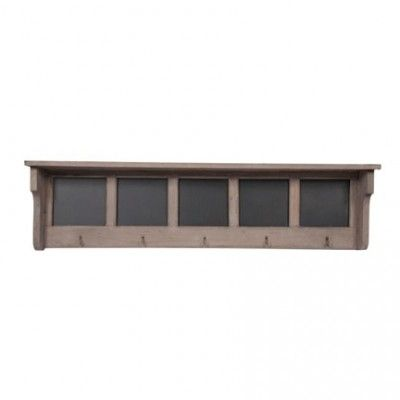 natural wood shelf - blackboards + hooks