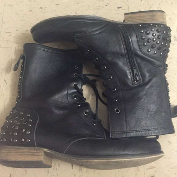Betsey Johnson Studded Combat Boots These lace-up boots have inner zippers. They aren't stiff or tight, so you likely won't need to use the zippers . I have uploaded pics of the scuffing & missing gems. No box. Betsey Johnson Shoes Combat & Moto Boots