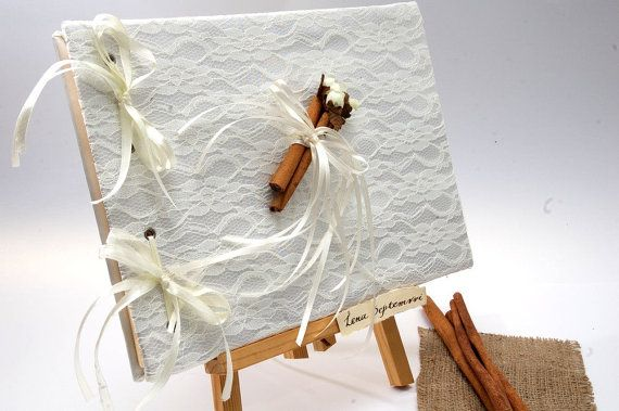 Wedding Guest Book  with Lace and Cinnamons by LenaWeddings