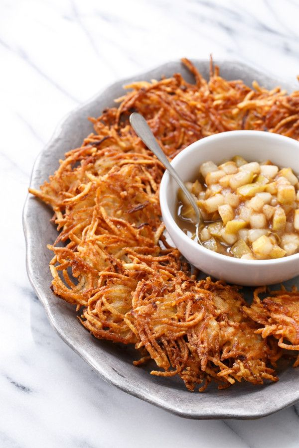 Happy Hanukkah! These Crispy Potato Latkes (with Spiced Pear Compote) are based on my grandmother's recipe.
