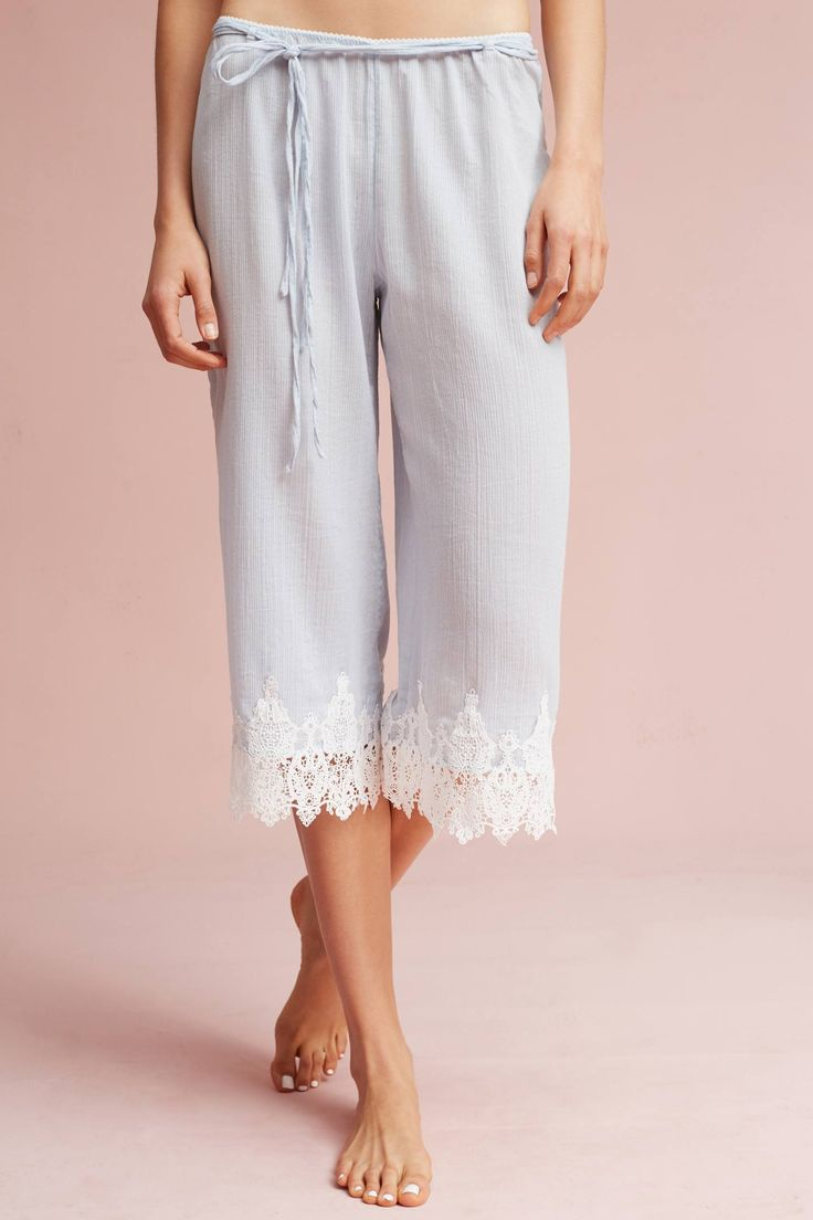 Slide View: 1: Lace-Trimmed Sleep Pants