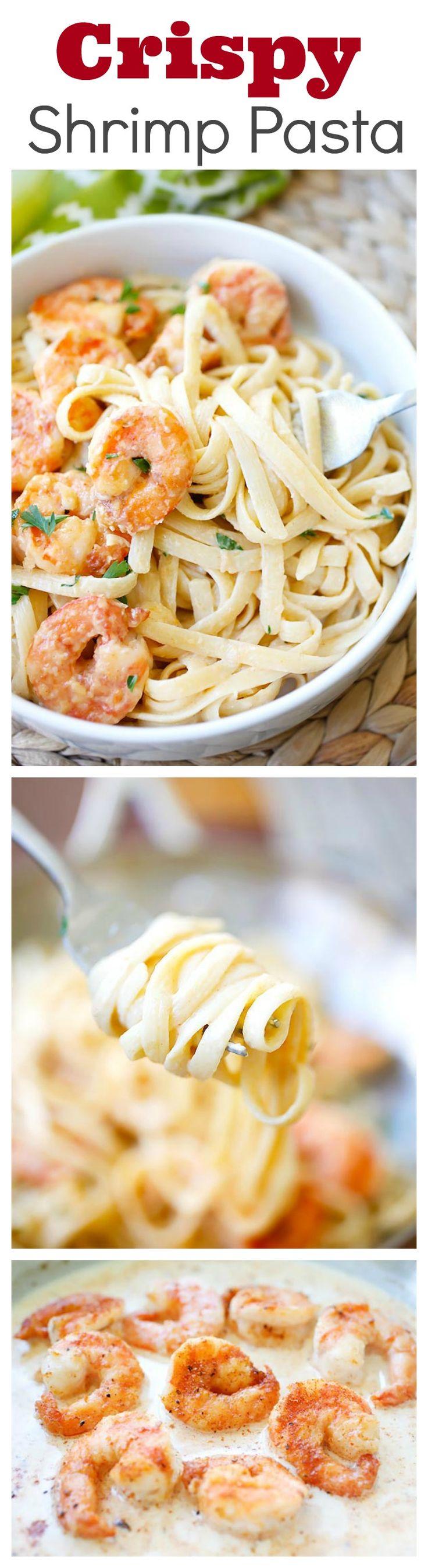 Crispy shrimp pasta – the best shrimp pasta ever with rich creamy sauce and cajun-seasoned crispy fried shrimp | rasamalaysia.com | @kevinandamanda