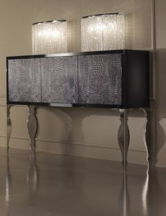 Diva Collection alligator sideboard shown here in black high gloss with black alligator doors and frame. Polished steel baroque legs