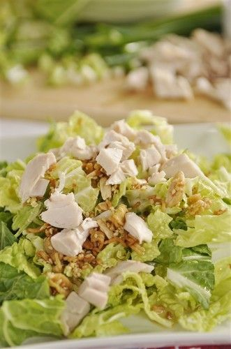 Chinese Cabbage Salad.  Replace Ramen noodles with walnuts and evoo and rice vinegar, S!