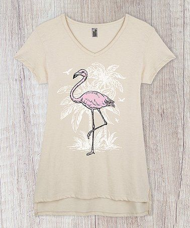 63cd29173495 Loving this Heather Oatmeal Flamingo V-Neck Tee - Women on #zulily!  #zulilyfinds