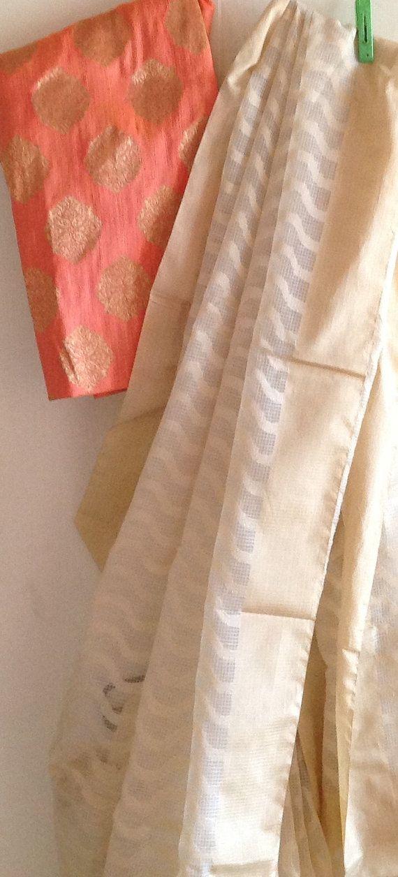 Beige net kota saree with beige woven border by GiaExquisiteIndian