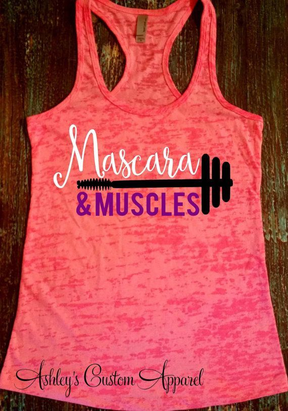 Muscles and Mascara - Fitness Motivation - Workout Tank - Mascara Shirt - Womens Workout Shirt - Motivational Shirt - Fitness Journey  by AshleysCustomApparel