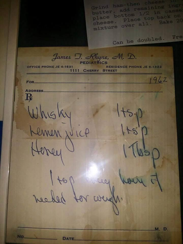 #Whisky! Instructions for homemade #cough #syrup, written on a doctor's prescription pad. Click through to read the comments of the Facebook post where people reminisced about other old-time cures such as kerosene or turpentine mixed with sugar.