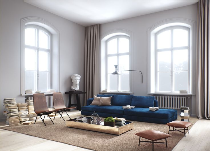 Oscar Properties #oscarproperties  Stockholm, Farmaceutiska, Lyceum, sofa, blue sofa, windows, leather, carpet
