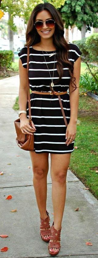 #summer #outfits  Black Striped Dress + Camel Pumps