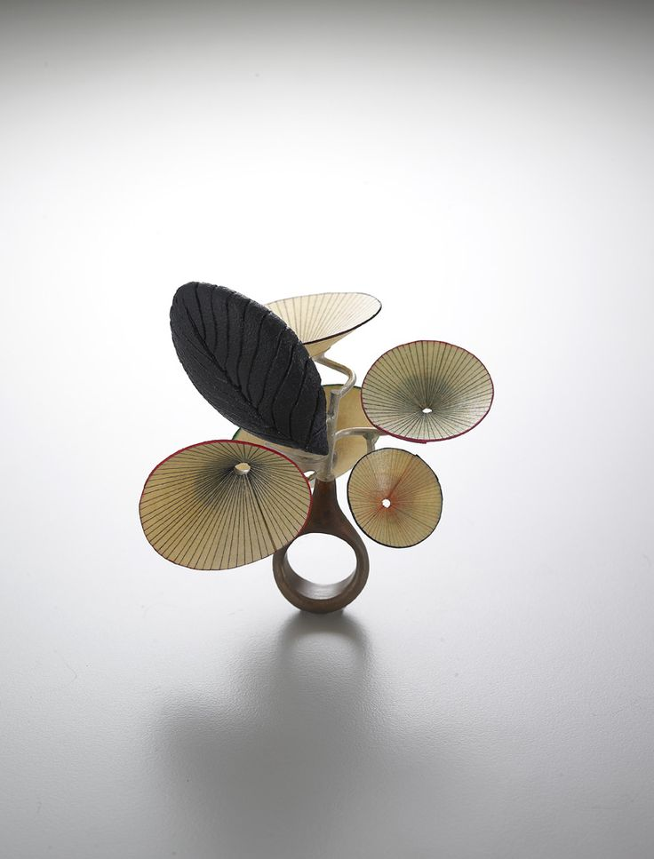 """Heejoo Kim -KOREA - silver, enamelled copper, korean floor paper  """"Kim's jewels are seen intuitional and material rather than intellectual from the viewpoint of the trend of contemporary jewelry following concept art. It presents material attractiveness, not conceptual, still can be favored as virtue of jewels in our times""""""""Kim intends to tell us various aspects of plants through new materials"""""""