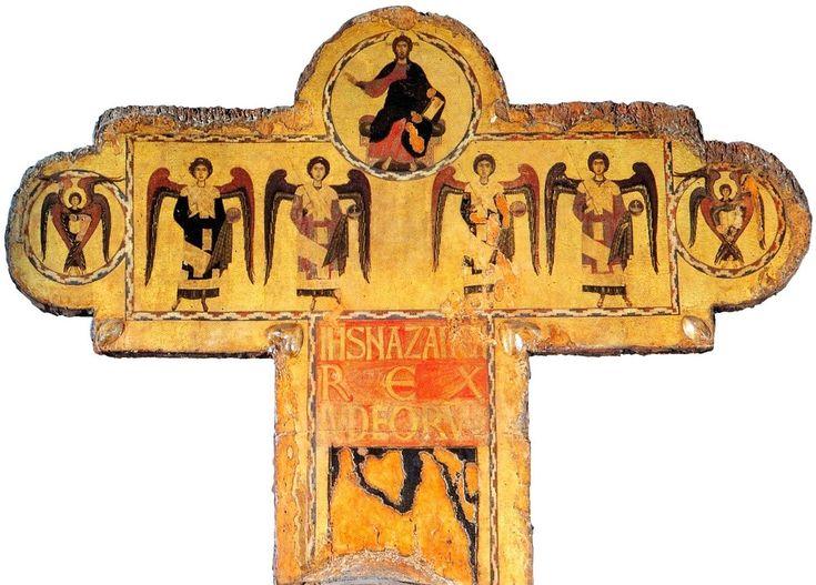 Византийский мастер Распятия из Пизы. Распятие № 20, деталь креста:Христос во славе и шесть ангелов.