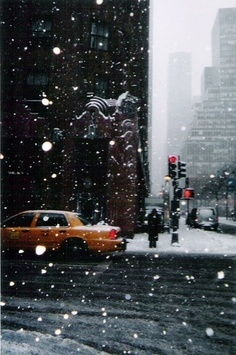 Snow during the winter in New York City, United States.