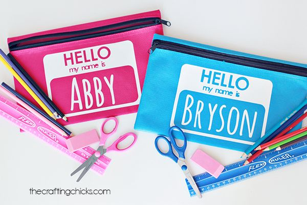 Personalized Pencil Bags made with Cricut Explore -- The Crafting Chicks. #DesignSpaceStar Round 2