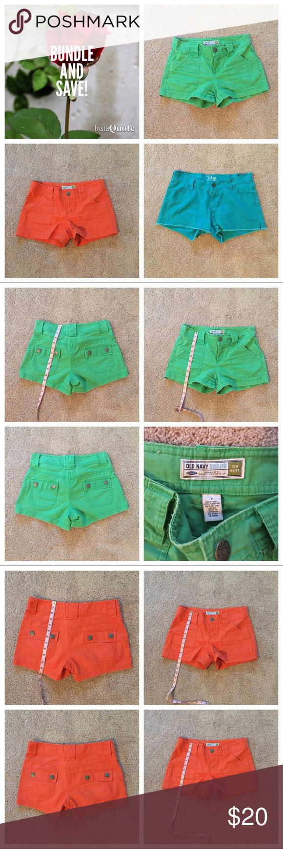 Old Navy Shorts Bundle 3 pairs of shorts - Old Navy The Diva Turquoise Short, Old Navy Low Waist Green Short, Old Navy Low Waist Orange Short. Please check separate listings for more information. Old Navy Shorts