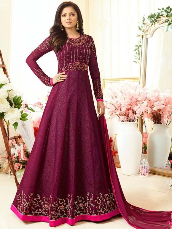 b078011256 Magenta Madhubala Semi Stitched Suit Online Price - Rs. 3,700.00 Shop Now -  https: