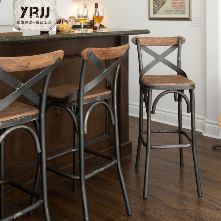 Creative Metal Iron Source Tall Wrought Bar Chairs Outdoor Stool Backrest