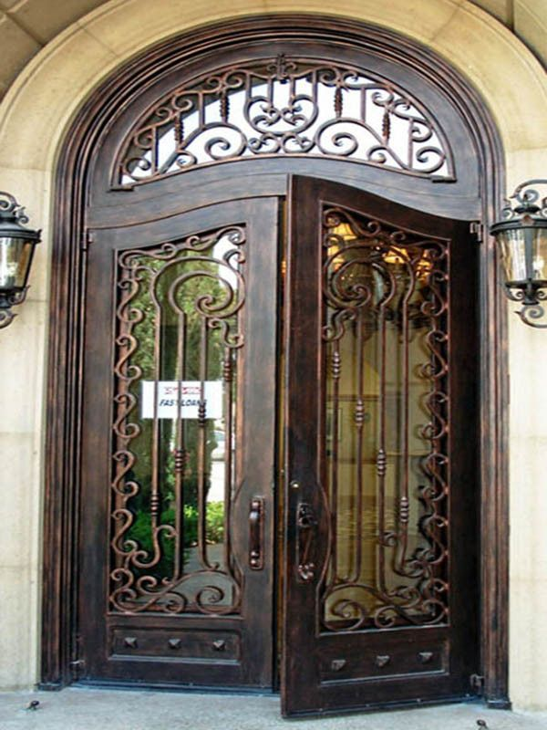 Luxury Wrought Iron Entry Door With Transom And Sidelites