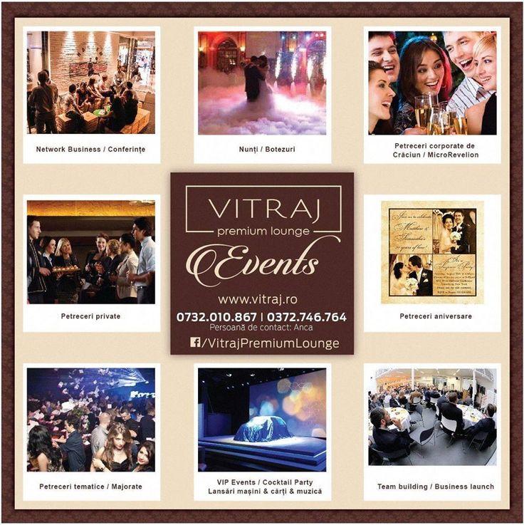 Vitraj Premium Lounge iti este alaturi la evenimente importante din viata sau la ocazii speciale.  Relatii si rezervari la telefoanele: 0732 010 845  /  0372.746.764  /  0732 010 867 sau e-mail: office@vitraj.ro
